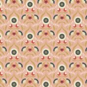 Lewis & Irene Cheiveley - 5629  - Traditional Floral, Metallic Gold on Pink - A242.1 - Cotton Fabric